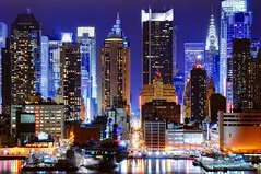 45th street at night (andrew c mace) Tags: nyc newyorkcity skyline night cityscape manhattan midtown timessquare chryslerbuilding ussintrepid hamiltonpark nikkor70300mm colorefex nikoncapturenx nikond90