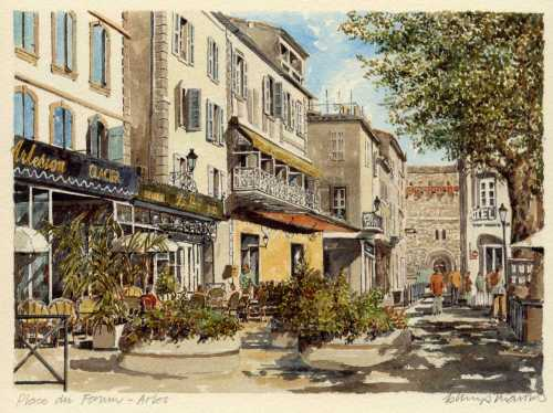 Arles  Place du Forum Art Print
