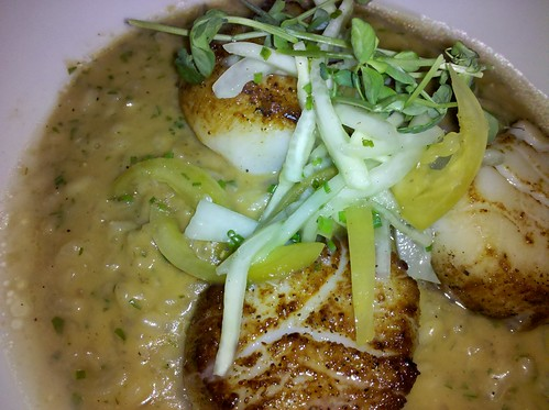 "Scallops with muddled cucumber and ""low country risotto"""