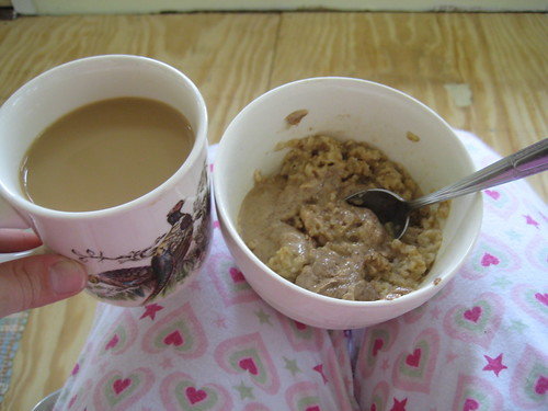 coffee, oatmeal, Justin's maple almond butter