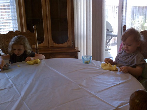 Lily and Livi playing with homemade playdough