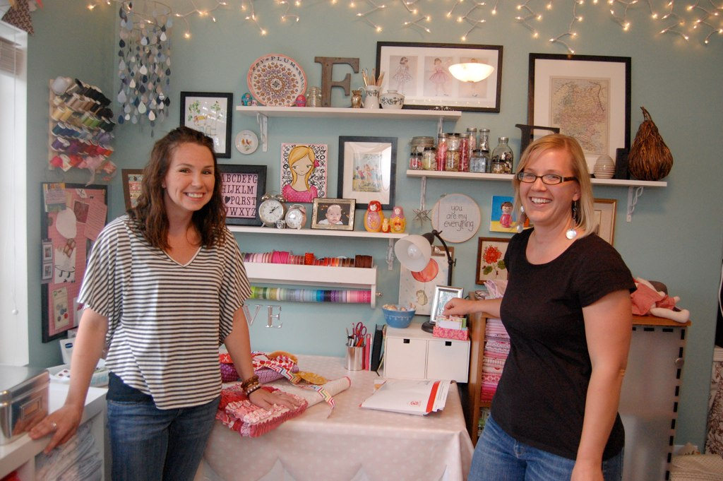 Erin and Leigh enjoying Erika's crafty space