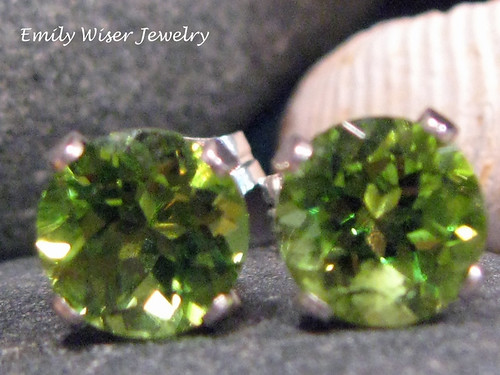 Peridot Stud Earrings by EmilyWiserJewelry2011