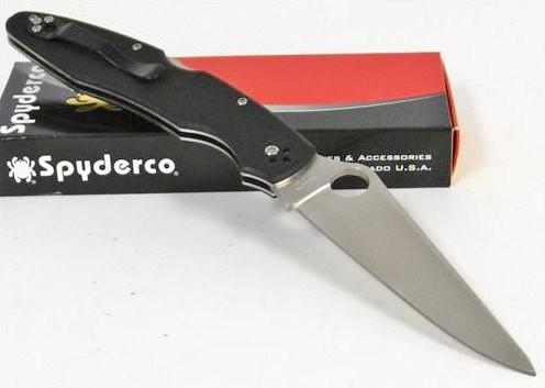 "Spyderco Police3 Folding Knife 4-3/8"" VG10 Plain Blade, Black G10 Handles"