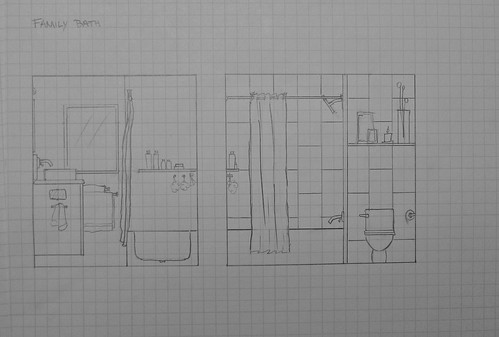Interior Drawing - Family Bathroom