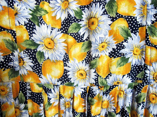 lemon and sunflower vintage fabric