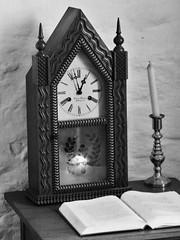 Manassas VA - Stone House clock & candle (karma (Karen)) Tags: bw virginia candles books civilwar tables manassas clocks bullrun nbp stonehouse still~life