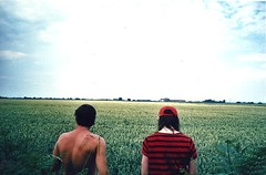 (benarmson) Tags: blue two sky green film field clouds 35mm hair countryside view lads farm stripes exploring horizon country explore massive topless buff far
