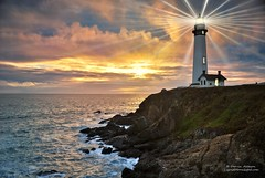 Restoring a Classic - Sunset at Pigeon Point Lighthouse (Darvin Atkeson) Tags: ocean sanfrancisco california desktop travel light sunset sea wallpaper santacruz lighthouse house seascape art beach photoshop lens point landscape coast pacific artistic pigeon guard coastal restore beaches restoration 24 fresnel beams rendering tallest darvin atkeson darv lighthousetrek liquidmoonlightcom
