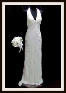GALINA WEDDING DRESS 6 HALTER  3d PATTERN MERMAID