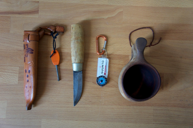 Essential outdoor items carried when hiking