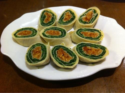 tofu skin + vegie rolls