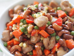 Stir-Fried Cashew Chicken (blurry picture) Tags: food asian 50mm chinesefood rikenon50mmf14 ricohxrrikenonf14 summer2011