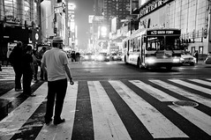 the end of my first day there (Foxtongue) Tags: nyc newyork blackwhite taxi timessquare brenno hailing