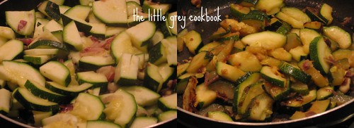 zucchini / courgette with red onion and garlic