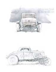 model A and 34 coupe (Stefan Marjoram) Tags: car pencil vintage sketch drawing watercolour hotrod hayride dragster urbansketches
