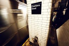 Bored, Waiting to Board (mheidelberger2000) Tags: nyc newyorkcity urban train subway decay manhattan platform dirty mta jtrain lowermanhattan commuters chambersstreet ztrain bmtnassauline