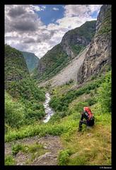 Aurlandsdalen 3 (vegarste) Tags: man nature norway trekking landscape norge nikon hiking natur norwegen dal valley backpack mann hdr landskap aurlandsdalen deuter d90 3xp photomatix tonemapping 3exp