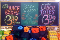 Back To School Totes! (misterbigidea) Tags: school summer art sign kids bag lunch chalk artist display juice mini joe backpack traderjoes boxes cooler joes chalkboard tote backtoschool totes trader traderjoe insulated