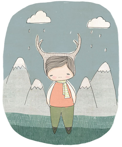 Deer-Boy-in-the-Mountains-with-Raindrops-and-Clouds-Illustration