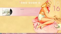 "first real attempt at ""pimping"" my desktop (tinydancingdoll) Tags: desktop pink cute screenshot 60s pinup rainmeter rocketdock"