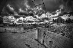 Bridge Black and White (BHagen) Tags: park bridge sunset blackandwhite bw blancoynegro blackwhite washington nikon spokane cloudy grunge gritty 8mm couds hdr d90 spokanefalls prooptic