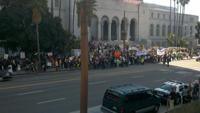 Occupy LA - day 1, marchers arrive at City Hall