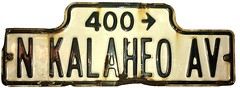 A battered street sign for North Kalaheo Avenue in Kailua, Hawaii