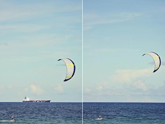 Fort Lauderdale beach kitesurfer diptych 2