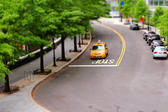 That day (neelgolapi) Tags: road street nyc newyorkcity trees newyork cars car canon miniature cab taxi yellowcab fake sidewalk stop curb canonef2470mmf28lusm tiltshift bikerail canonef2470mmf28l explored xti postprocessedtiltshift