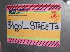 SKOOL STREET (]L ][ /A\ ]M[) Tags: streetart oregon portland graffiti sticker glue illegal slap