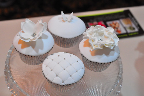 White and silver wedding cupcakes White choc mud cupcakes with smooth white