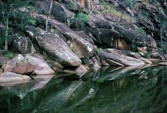 Bundundah Creek, 1984 (NettyA) Tags: park reflection film water rock creek 35mm stream australia slide national bushwalking 1984 nsw scanned granite newsouthwales kodachrome wilderness ck morton shoalhaven bundundah janettetomsett