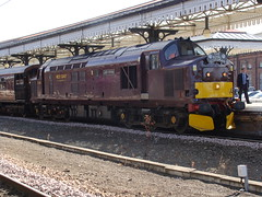 37685 'Loch Arkaig' at York on the Royal Scotsman. (Michael 43123) Tags: york 3 english car electric train maroon royal rail front class type british loch 37 executive saloon railways leading scotsman livery arkaig 37685 wcrc