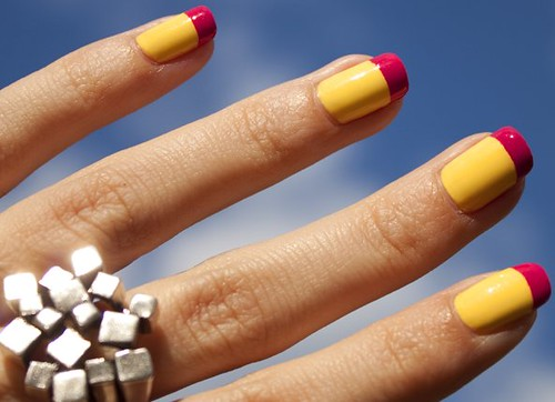 yellowCremeNailPolishPinkTipsFrenchManicure