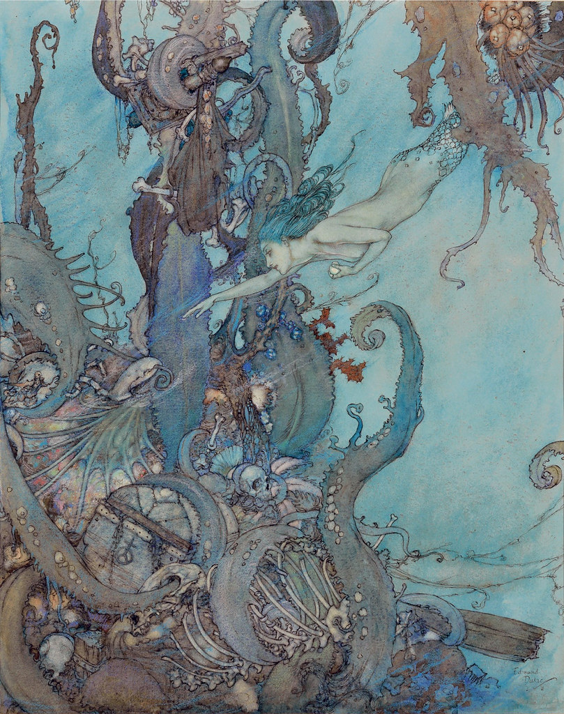 "Edmund Dulac - ""At the mere sight of the bright liquid ...  they drew back in terror."" Ilustration from ""The Mermaid"" 1911"