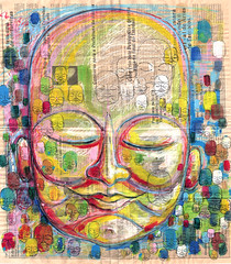 Vozes (rabisco antigo ) (.  F L F  .) Tags: china portrait india art love colors face illustration poster graffiti peace cheek place amor dream peaceful monk pop tibet textures meditation sonho buda grafite aquarela budismo walpaper rabisco ilustrao franciscofreitas