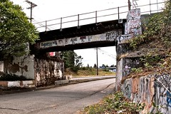 Tacoma train overpass 2 () Tags: street city bridge urban usa history america train entropy photography graffiti photo view pacific northwest image united graduation ceremony picture overpass gritty neighborhood mount photograph local states tradition tahoma issue1upm