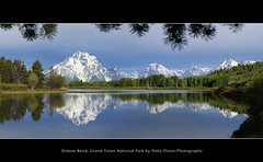 Oxbow Bend Grand Teton National Park (Deby Dixon) Tags: travel trees mountains reflection tourism photography nikon bravo panoramic adventure snakeriver aspens wyoming framing tetons deby allrightsreserved stormclouds stillwaters mountainrange grandtetonnationalpark 2011 oxbowbend mtmoran naturephotographer snowcoveredmountains debydixon threeframesstitchedtogether debydixonphotography