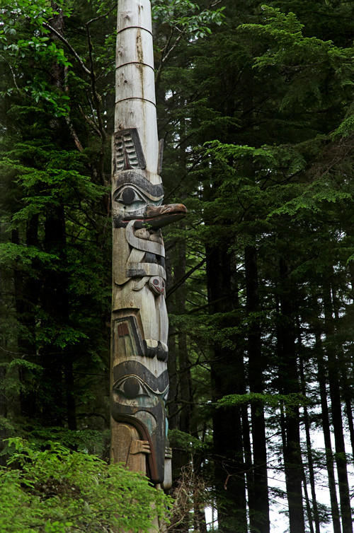 totem and trees, Totems Historic District, Kasaan, Alaska