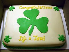 Shamrock Cake (plymouthcakery) Tags: ireland irish green cake engagement congratulations shamrock fondant congrats buttercream