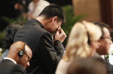 July 20th, 2011 - Yao Ming sheds a tear at his retirement announcement in Shanghai
