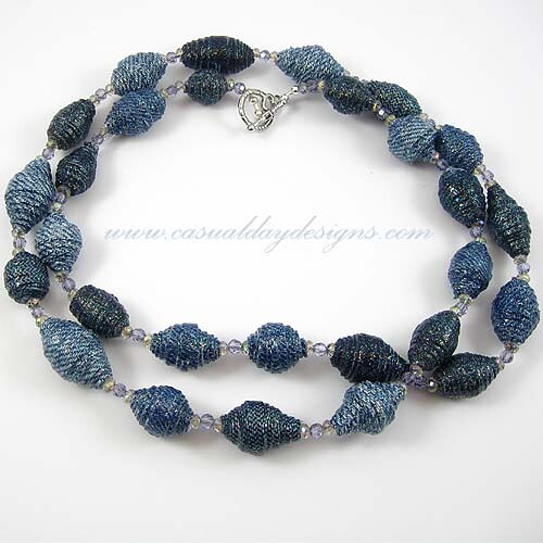 Blue Denim Fabric Bead Necklace with Czech Glass Beads