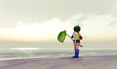 Heaven's Light (Narsha Littlebird) Tags: pink cute beach hat leaf watermelon sl avatars secondlife virtual childavatars kidavatars