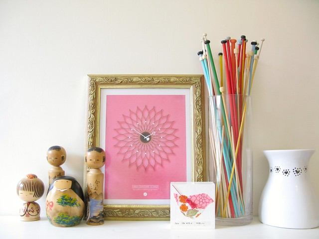 a new shelf arrangement with a wee bit of pink | Emma Lamb