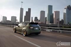 Rolling into Battle (Danh Phan) Tags: green skyline military houston ssr hulk sti matte maydaygarage