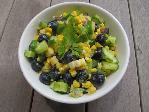 Blueberry corn and cucumber salad