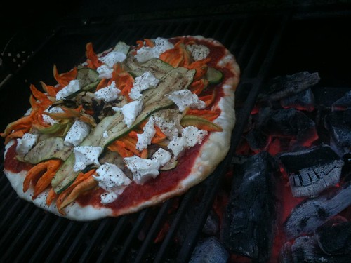 zucchini pizza on grill