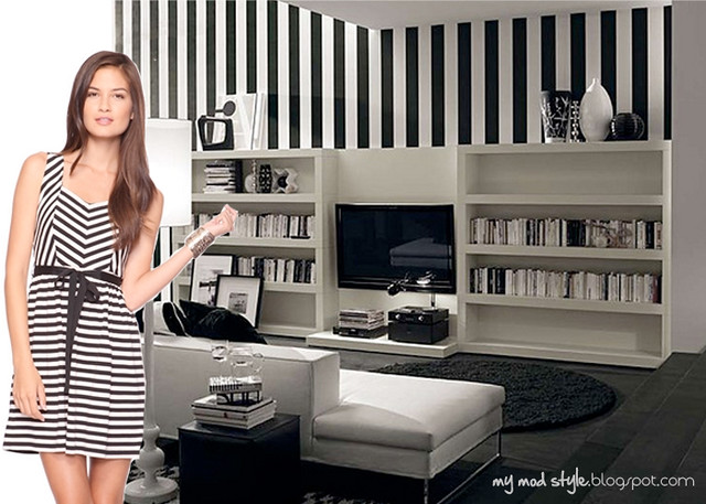 dress and room blackwhite stripes