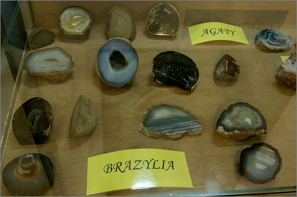 Kolekcja agatów w Muzeum Ziemi Biłgorajskiej